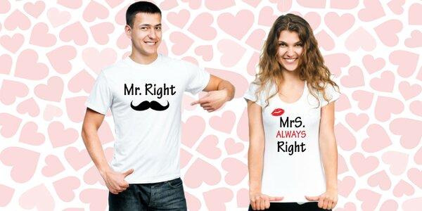 Valentínske sety tričiek pre zamilované páry