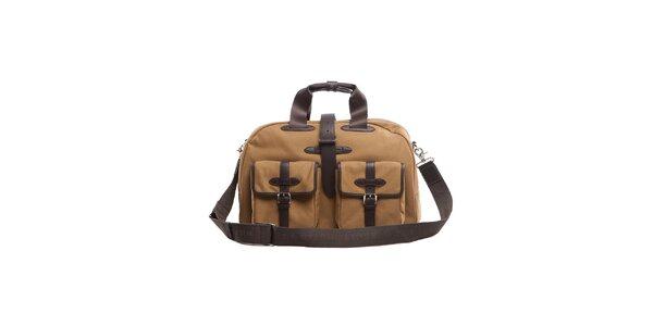 Béžovo-hnedá taška s koženými detailami Tommy Hilfiger