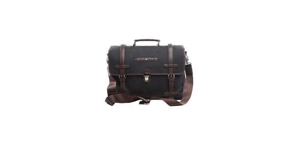 Čierno-hnedá luxusná taška s koženými prvkami Tommy Hilfiger