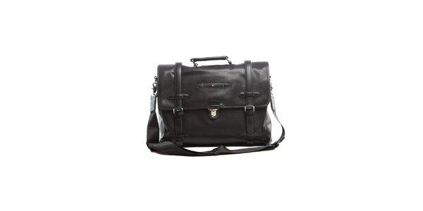 Čierna kožená taška Tommy Hilfiger