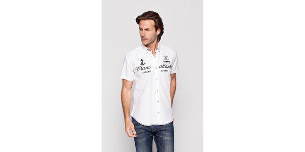 Pánska biela košeľa Giorgio di Mare s výšivkami