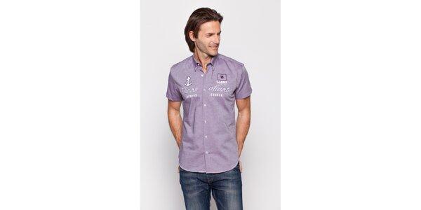 Pánska fialová košeľa Giorgio di Mare s výšivkami
