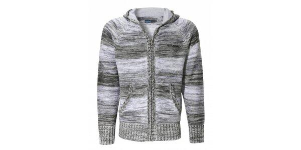 Pánsky šedý prúžkovaný sveter Fundango s kapucou