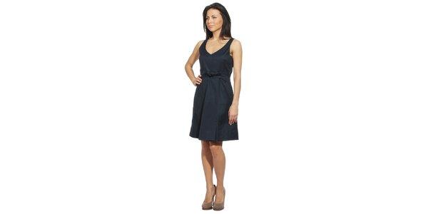 Dámske temne modré šaty s mašľou v páse Red Valentino