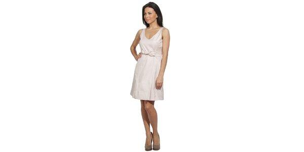 Dámske svetlo béžové šaty s mašľou v páse Red Valentino