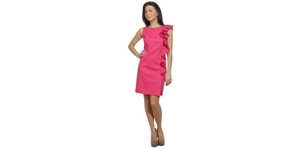 Dámske šaty vo farbe jahodovej dreni s volánom Red Valentino