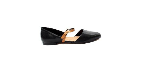 Dámske čierne zatvorené sandálky s béžovým pásikom Bagatt