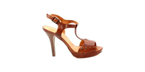 80998fa9f29f Dámske karamelové sandálky s cvčkami Bagatt