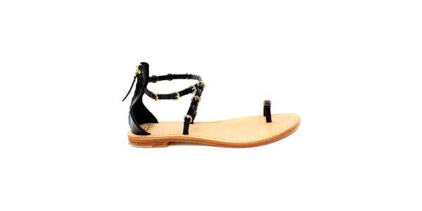 Dámske čierne sandálky so zlatými prackami Bagatt