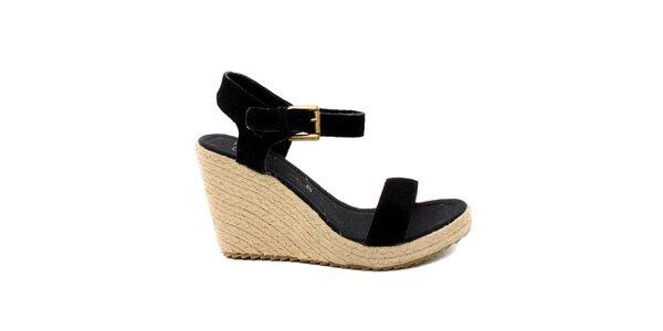 Dámske čierne semišové sandálky na platforme Bagatt