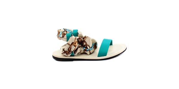 Dámske tyrkysovo-biele sandálky s šatkovou časťou Bagatt