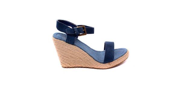 Dámske modré denimové sandálky na platforme Bagatt