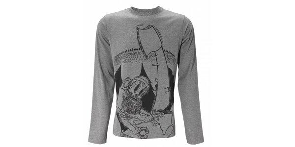 Pánske svetlo šedé melírované tričko Fundango s dlhým rukávom a potlačou