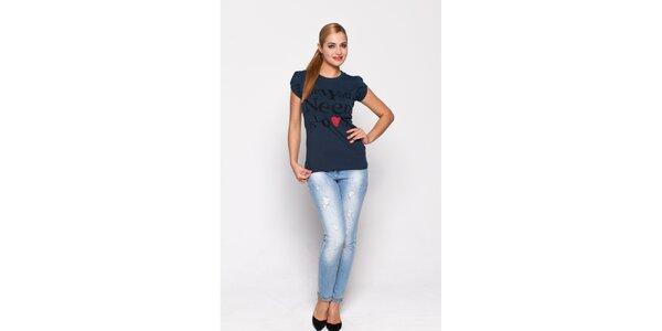 Dámske antracitové tričko Giorgio di Mare s potlačou
