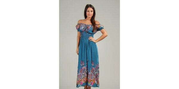 Dámske ocelovo modré maxi šaty s pestrými vzormi Anabelle