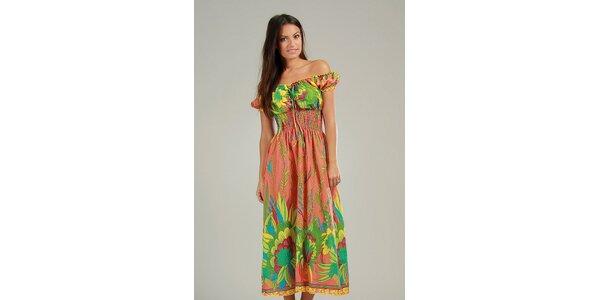 Dámske oranžovo-zelené maxi šaty s pestrými vzormi Anabelle