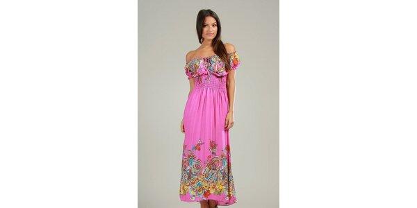 Dámske ružové maxi šaty s pestrými vzormi Anabelle