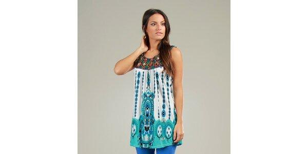 Dámske modro-zelené šaty Anabelle s ornamentálnym vzorom