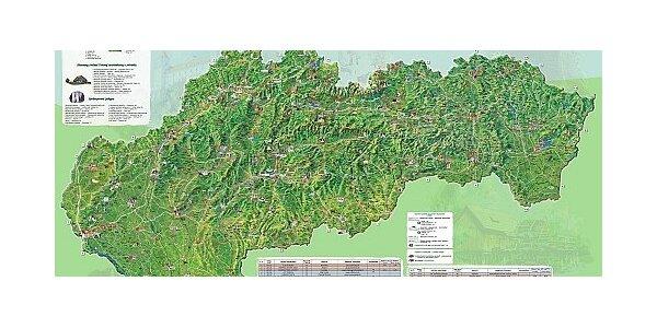 Nádherná ručne maľovaná mapa Slovensko - malebná krajina