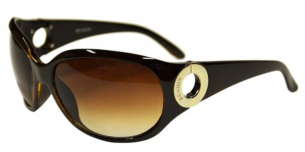 Dámske tmavo hnedé slnečné okuliare Revlon so zlatými krúžkami