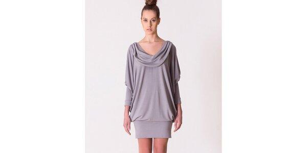 Dámske šedé šaty s vodovým výstrihom Yuliya Babich
