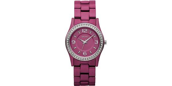 Dámske ružové hodinky DKNY s kamienkami