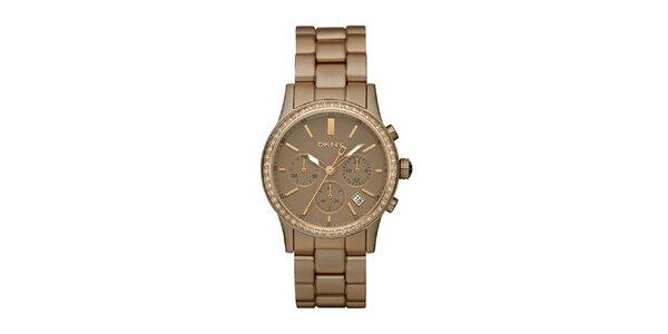 Dámske hnedo zlaté hodinky DKNY s kamienkami
