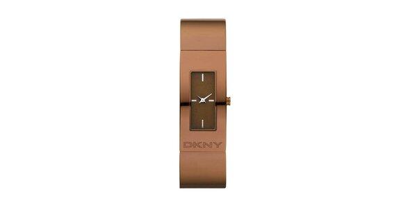 Dámske hnedé oceľové hodinky DKNY