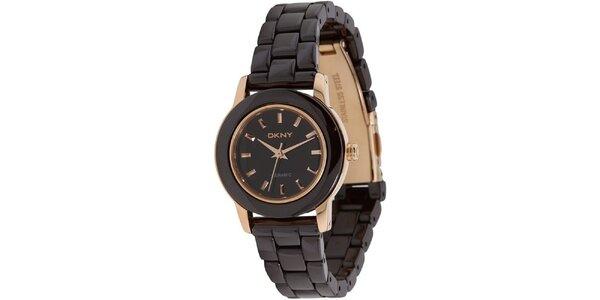 Dámske hnedo-zlaté keramické hodinky DKNY
