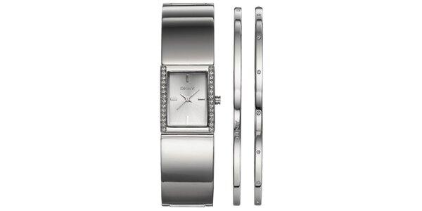 Sada dámskych oceľových hodinek DKNY a náušníc