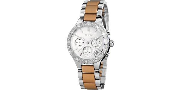 Dámske hnedo-strieborné hodinky DKNY s kamienkami