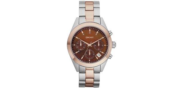 Dámske zlato-strieborné náramkové hodinky DKNY