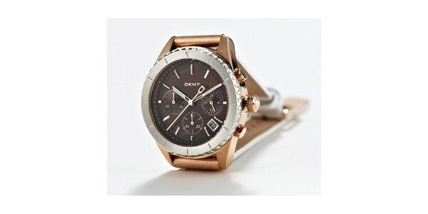 Dámske zlato-strieborné náramkové hodinky DKNY s bielym koženým remienkom