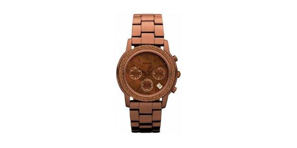 Dámske hnedé oceľové hodinky DKNY s kamienkami