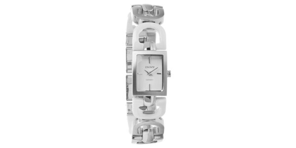 Dámske strieborné oceľové hodinky DKNY s bielymi keramickými detailami