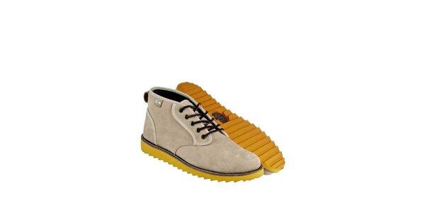 Pánske béžové kožené boty Lacoste