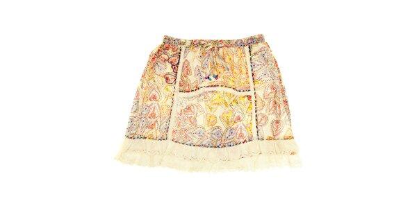 Detská béžová sukňa s vzormi a prešívaním Peace&Love