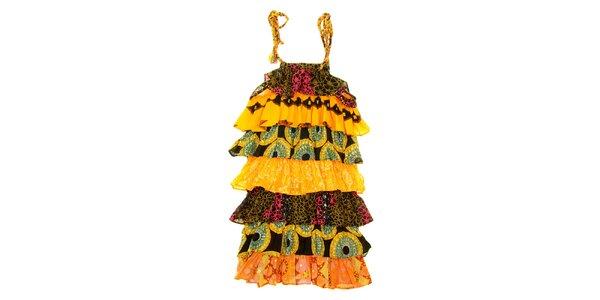 Detské žlto-oranžové etno šaty Peace&Love
