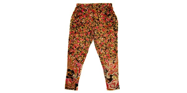Detské hnedo-červené kvetované nohavice Peace&Love