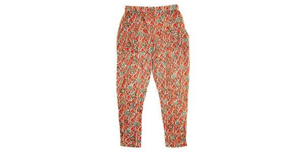 Detské červené nohavice s farebnými vzormi Peace&Love