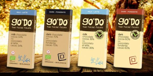GO*DO talianske organické bio čokolády bez cukru a lepku