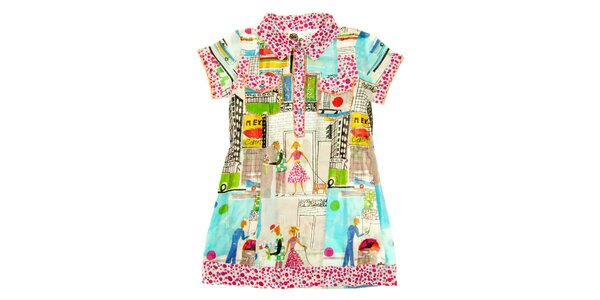 Detské pestré košeľové šaty s mestskou potlačou Peace&Love