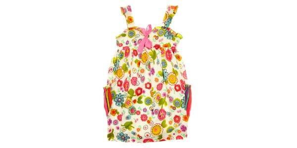 Detské pestré šaty s mašličkou a vreckami Peace&Love