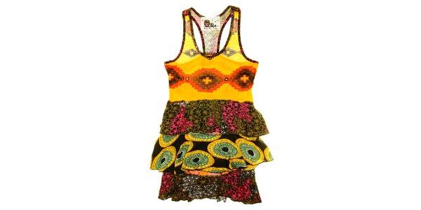 Detské vzorované šaty s volánikmi Peace&Love