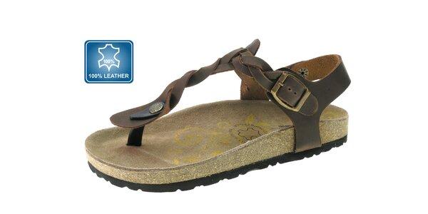 Dámske hnedé kožené sandále Beppi