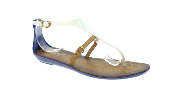 Dámske modro-biele sandálky s béžovým remienkom Beppi