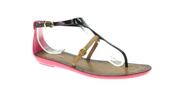 Dámske ružovo-čierne sandálky s béžovým remienkom Beppi