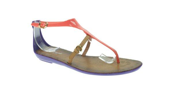 Dámske lososovo-fialové sandálky s béžovým remienkom Beppi