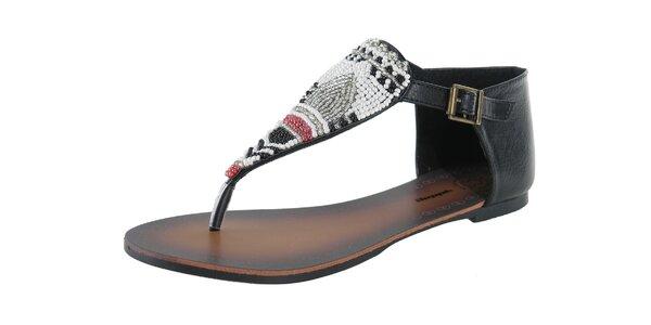 Dámske čierne sandálky s korálkovou aplikaciou Beppi