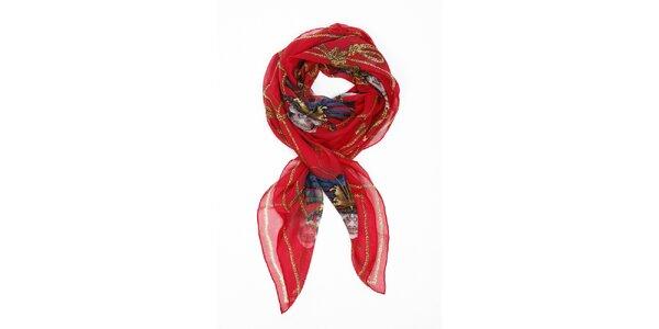 Dámsky sýto červený hodvábny šál Alexander McQueen s motýlmi a lebkami